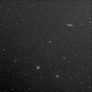 "M108 cigar galaxy above, and the relatively nearby M97 ""Owl"" nebula, a planetary (only because it's round)."